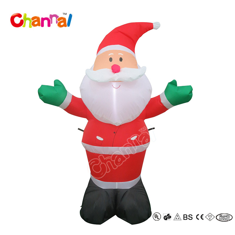 Factory made 6ft christmas inflatable santa claus with two pockets for holiday used