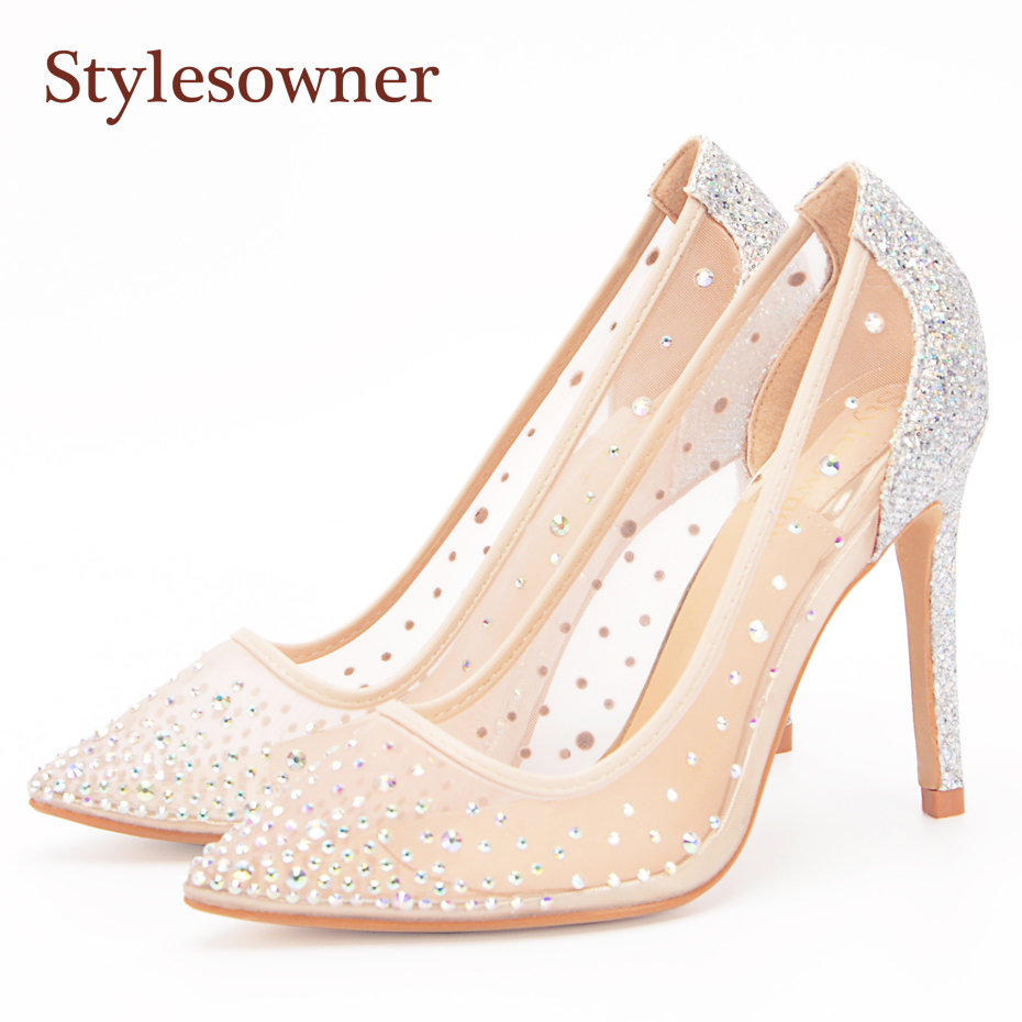 fd7dc5490f28ec Stylesowner Mesh Crystal High Heels Pumps Thin Heels Women Pumps Ladies  Girl Fashion Summer Pointed Toe