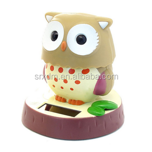 Hot custom plastic Solar Bobble Head Toy Figure, Cute Owl Solar Bobble Head Toy factory price made in China