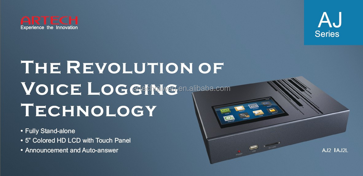 ARTECH AJ1L, New revolution- single line voice logger with internet function and 5inch touch screen