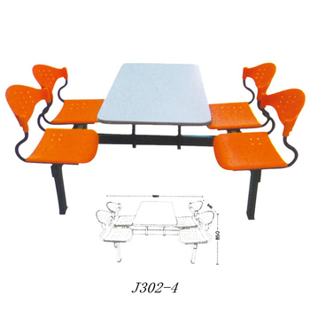 Best Price Canteen Table Furniture Plastic Chair Wooden Dining Table Set For  Sale J302 4