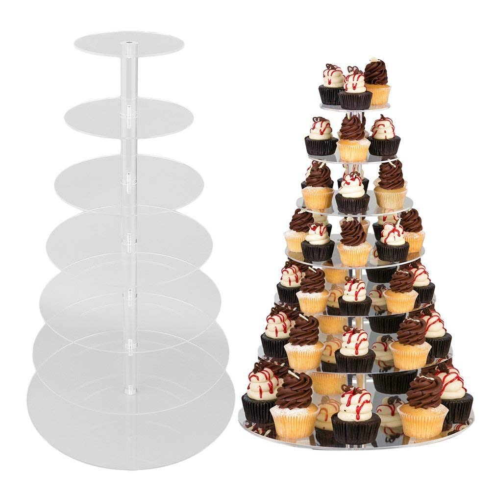 7-Tier Round Cupcake Stand - Acrylic Tiered Cake Stand - Round Wedding Cake Stand -Cupcake Display Stand, Dessert or Cupcake Tower