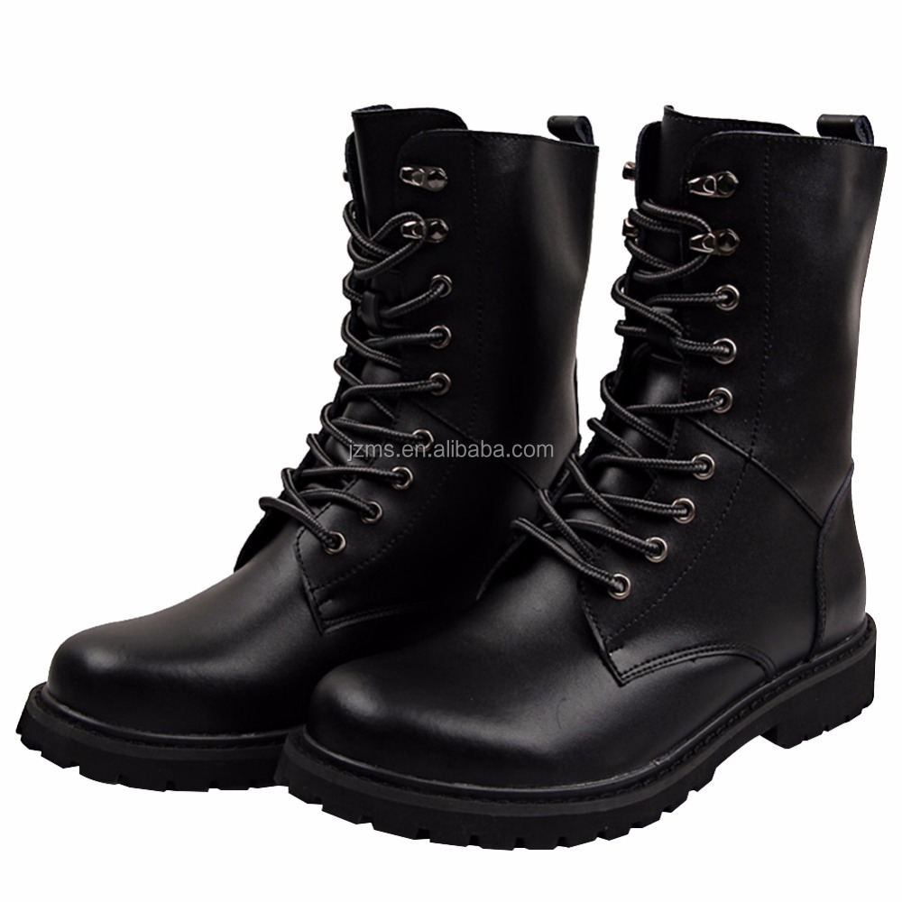 Jamron Unisex Adults Lace Up Calf Boots Motorcycle Boots