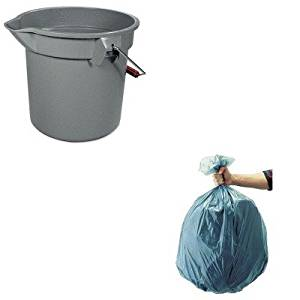 KITRCP261400GYRCP501188GRA - Value Kit - Rubbermaid 14 Quart Round Utility Bucket (RCP261400GY) and Rubbermaid 5011-88 Tuffmade Polyliner Low-Density Can Liners, 55 Gallons (RCP501188GRA)