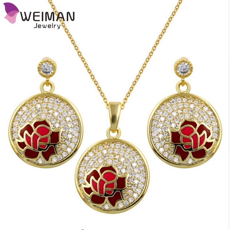 Top Quality Brass Cubic Zirconia Round Shape Flowers Jewelry Sets Necklace and Earrings for Women