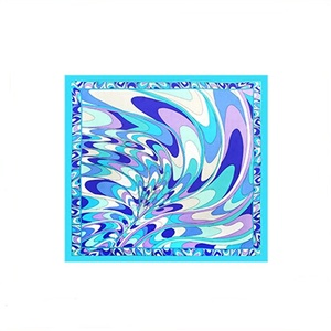 Sky Blue Comfortable Printed Silk Twill Scarf Square Gift Head Scarf