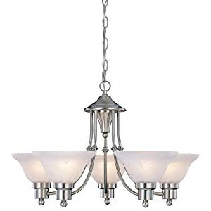 Cheap seagrass chandelier shades find seagrass chandelier shades get quotations 5 light brushed nickel chandelier with white frosted shades aloadofball Images