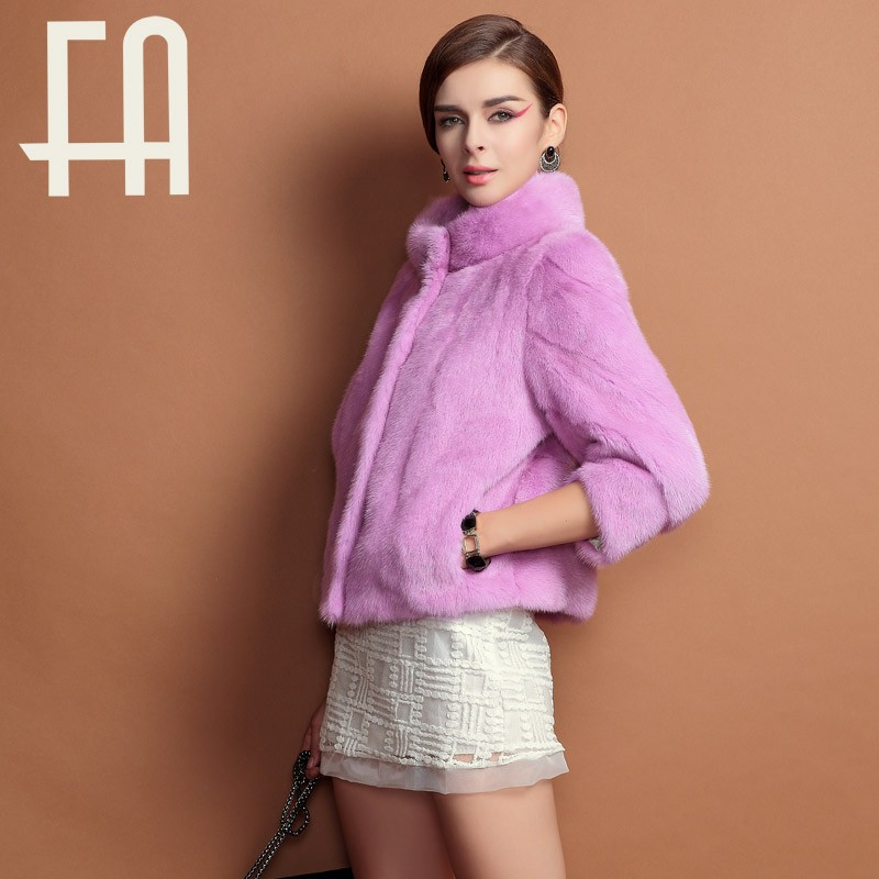2015 FA dyed short whole mink fur coat/jacket with prices women winter coats warm and fasion