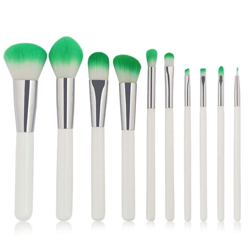 Makeup Brushes Set 10PCS/1Set Pro Cosmetic Makeup Brush Brushes Set Foundation Powder Eyeshadow BrushTool Valentine's Day Gift BCDshop (White)