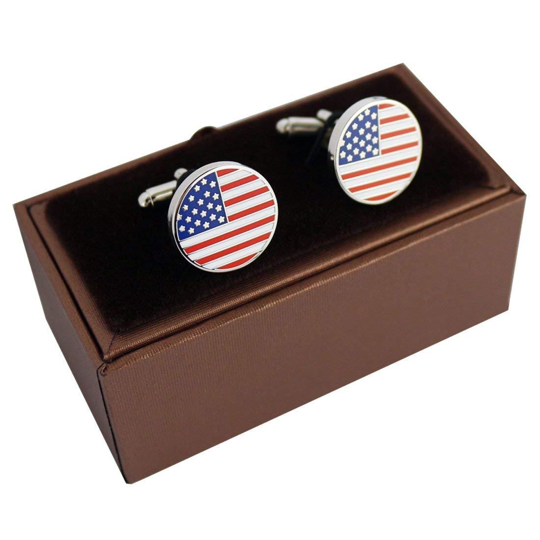 PINMEI American Flag Cufflinks Enamel Round Pair Great Gift for Men