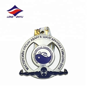 Factory Promotion Custom Sport 3D Swimming Silver Plating Medal Antique