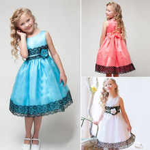 3 Color Flower Girl Summer Stereo Rose Veil dress Kids Sleeveless Lace Princess Dresses Children Baby Girls Party Clothes CA119
