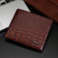 top fashion luxury Crocodile pattern leather wallet men business fold short card holder designer clutch purse money clip wallet