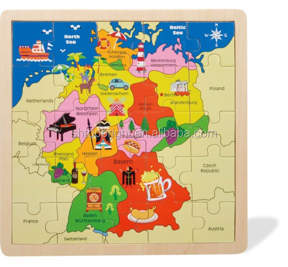 Map Of Germany For Sale.Hot Sale Germany Map Wooden Jigsaw Puzzle With Kinds Of Graphics For Kids Buy Germany Map Puzzles Wooden Map Puzzles Graphics Wooden Map Puzzles
