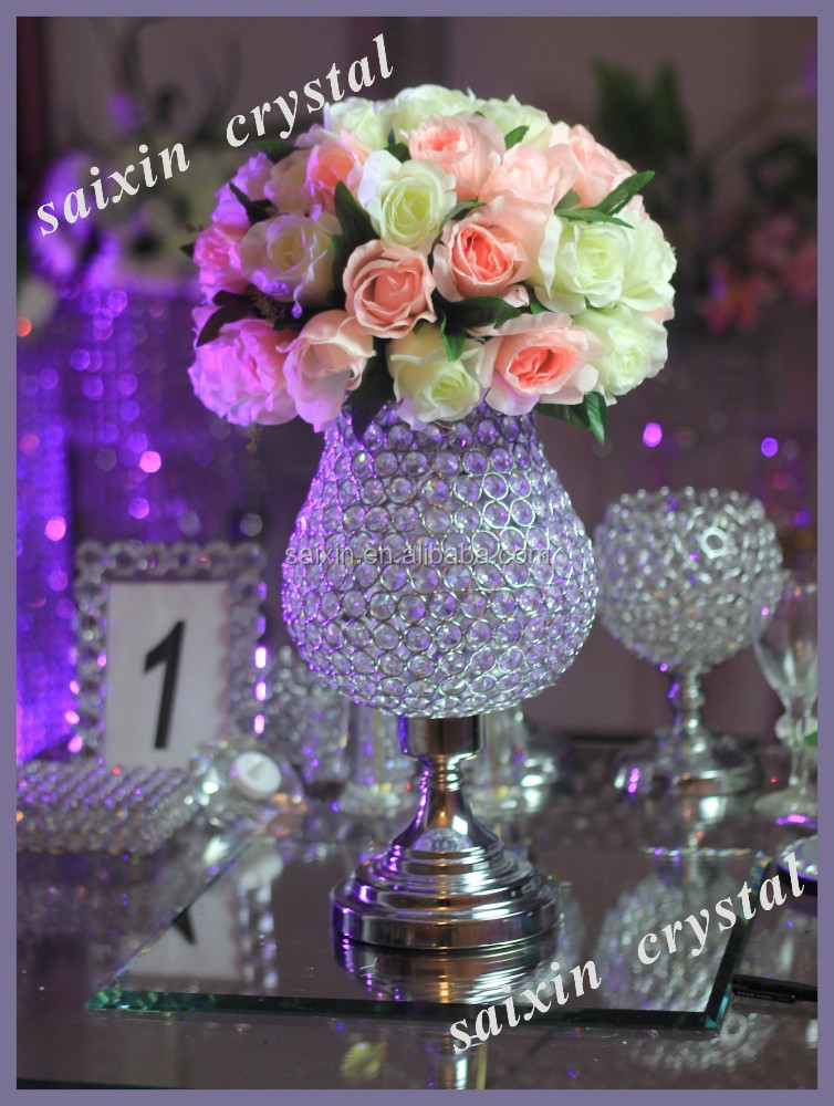 New Round Crystal Bead Vases For Hotels Decor Wedding Decoration