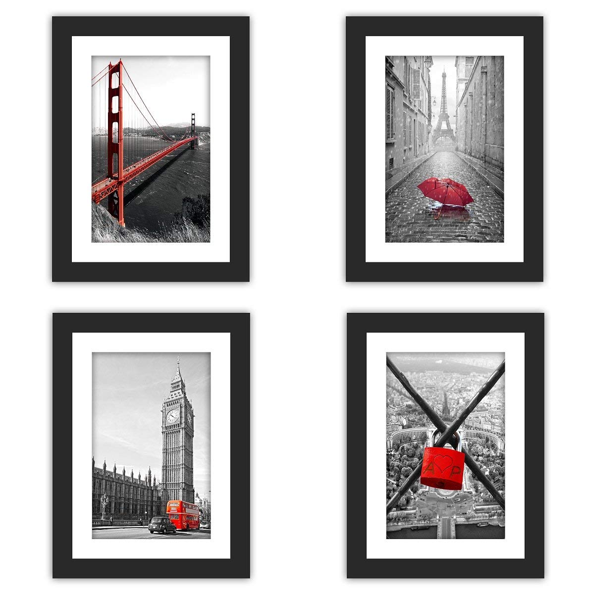 SMARTWALLSTATION 4X Real Glass Wood Frame Black Fit 5x7,1 Mat Matted Fit Image Pictures Photo 4x6 Desktop Stand or Wall Hang Vertical Horizontal Family Decoration (1-4)