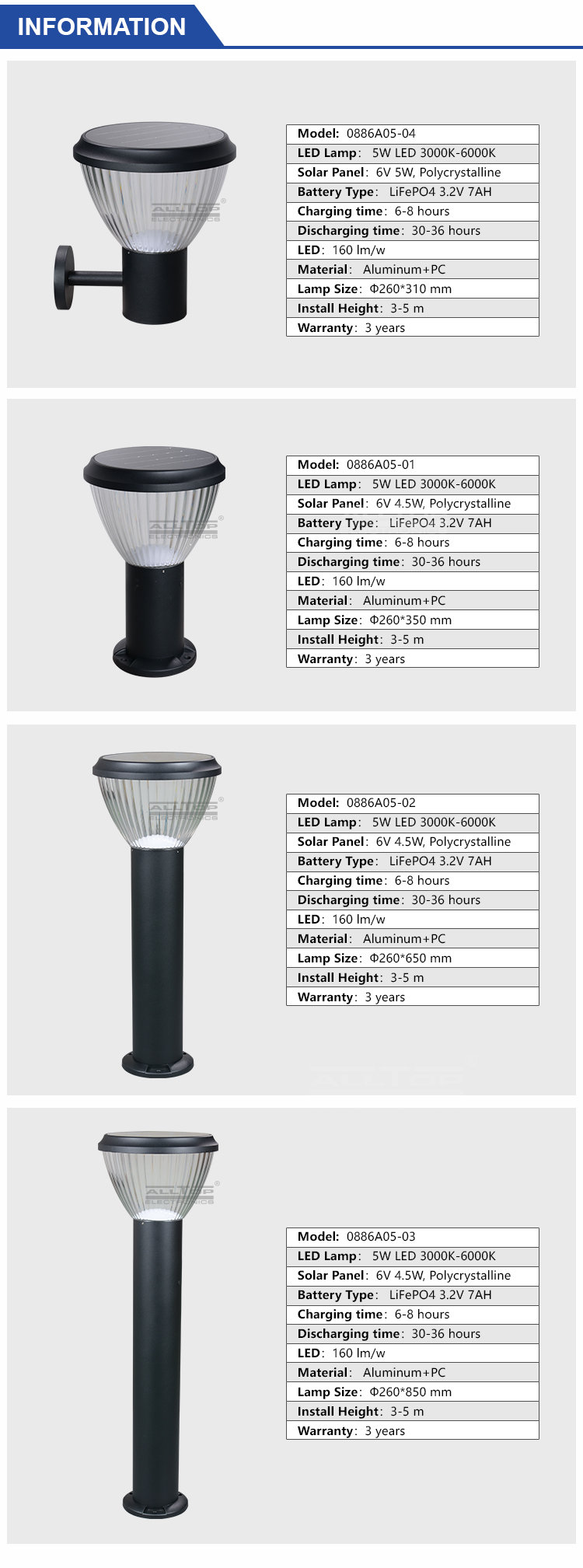 ALLTOP solar garden lamp post lights-7