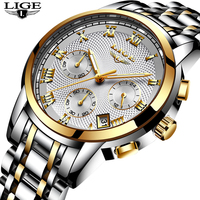 LIGE New Design Stainless Steel Waterproof Watch Men Casual Sport Quartz Watches