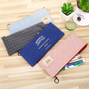 wholesale Canvas pencil bags stationery pencil case logo accept