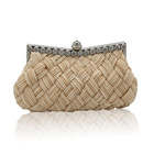 classic satin pleated women evening clutch bag with metal frame