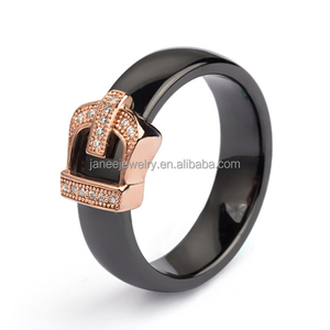 Italian Vogue Jewelry Designs Rose Gold Buckle King Crown Black Ceramic Wedding Ring