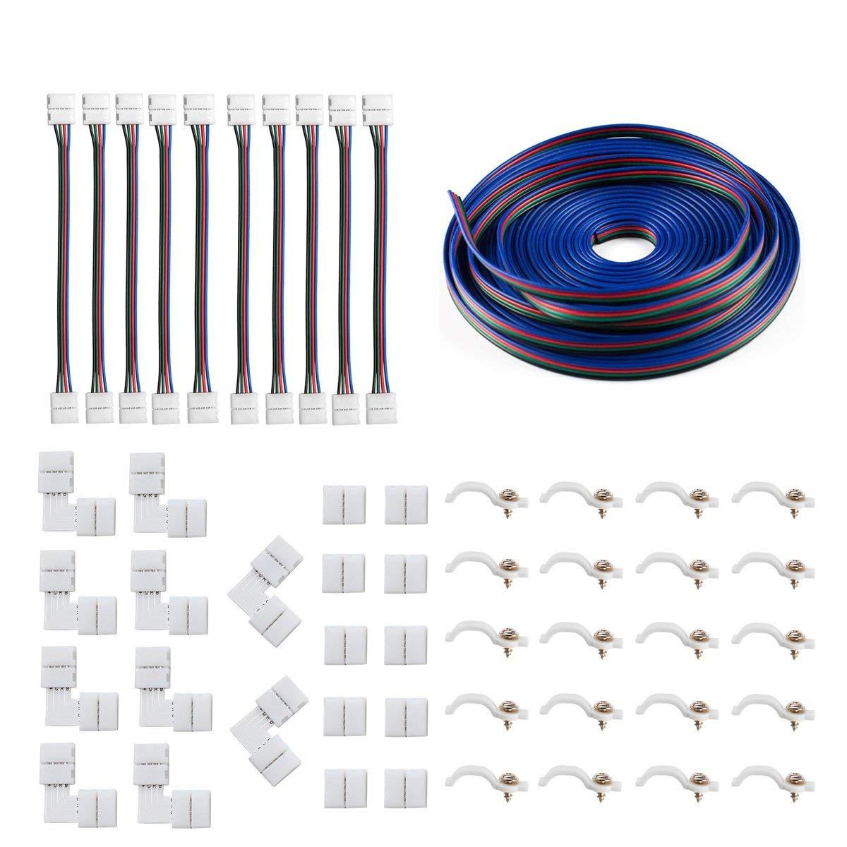 5050 4Pin LED Strip Connector Kit - 10mm RGB LED Connector Kit includes 32.8FT RGB Extension Cable, 10x LED Strip Jumper, 10x L Shape Connectors, 10x Gapless Connectors, 20x LED Strip Clips