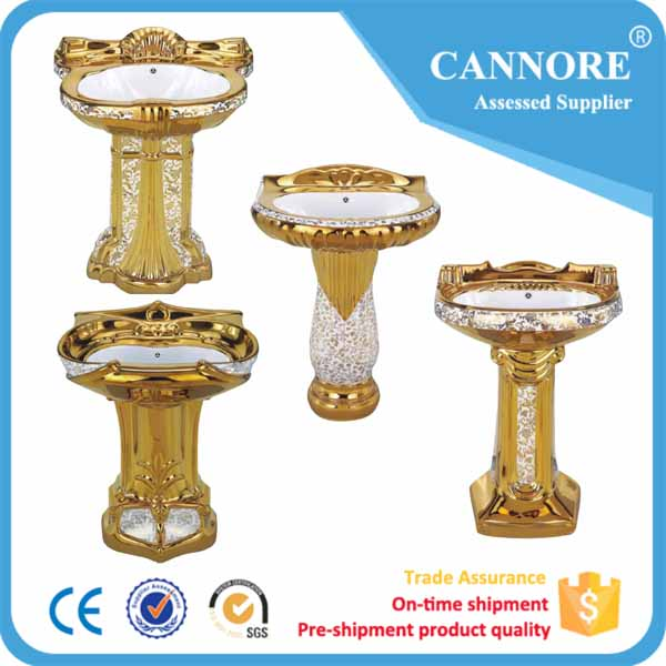 Guangdong Gold Color Pedestal Wash Hand Basin