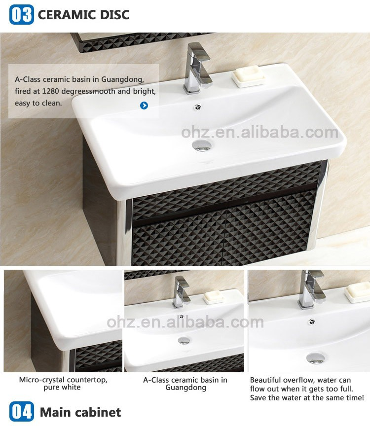 High-grade stainless steel classical black vanity bathroom cabinet T-101