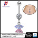 Sexy Zircon Rhinestone Diamond 316l Stainless Steel Jewelry Long Dangle Navel Belly Button Rings Body Piercing Jewelry