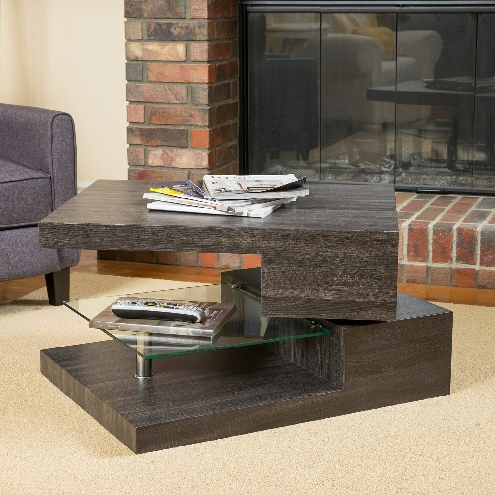 Modern Home Michael Rectangular Rotating Wood Coffee Table Glass Black Oak
