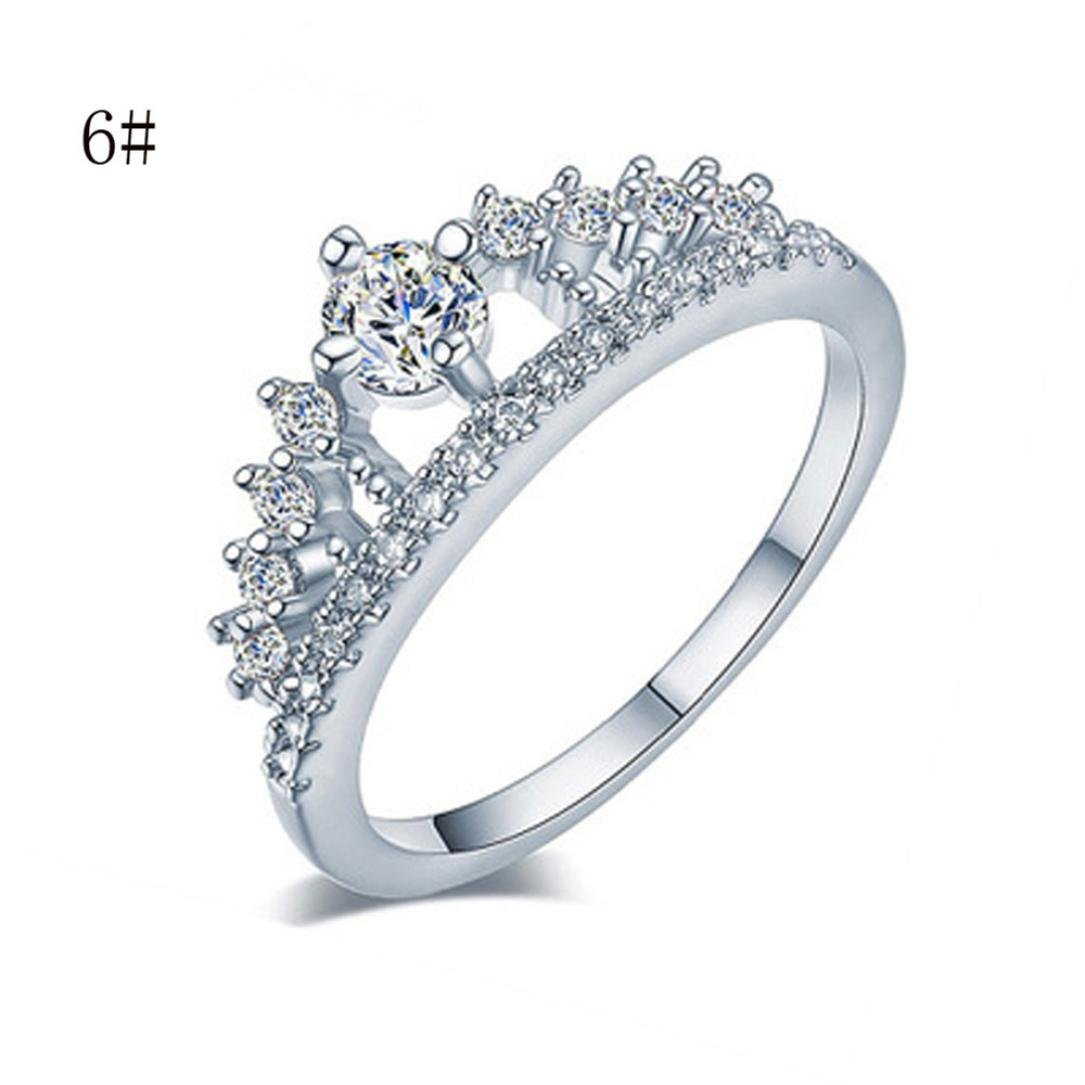 Lady Jewelry Ring,Hemlock Women Girl's Simple Pretty Crown Crystal Ring Princess Fingers Rings (Silver -6)