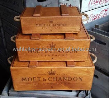 Champagne Vintage Style Wooden Crates With Rope Handles Buy Vintage Apple Crateantique Wooden Cratesvintage Wooden Apple Box Crates Product On