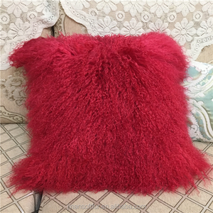 Tibetan Mongolian Lamb Fur Pillow / Red Sheep Skin Throw