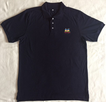 Promotional 220g thick black polo shirt golden printing polo/export to Africa