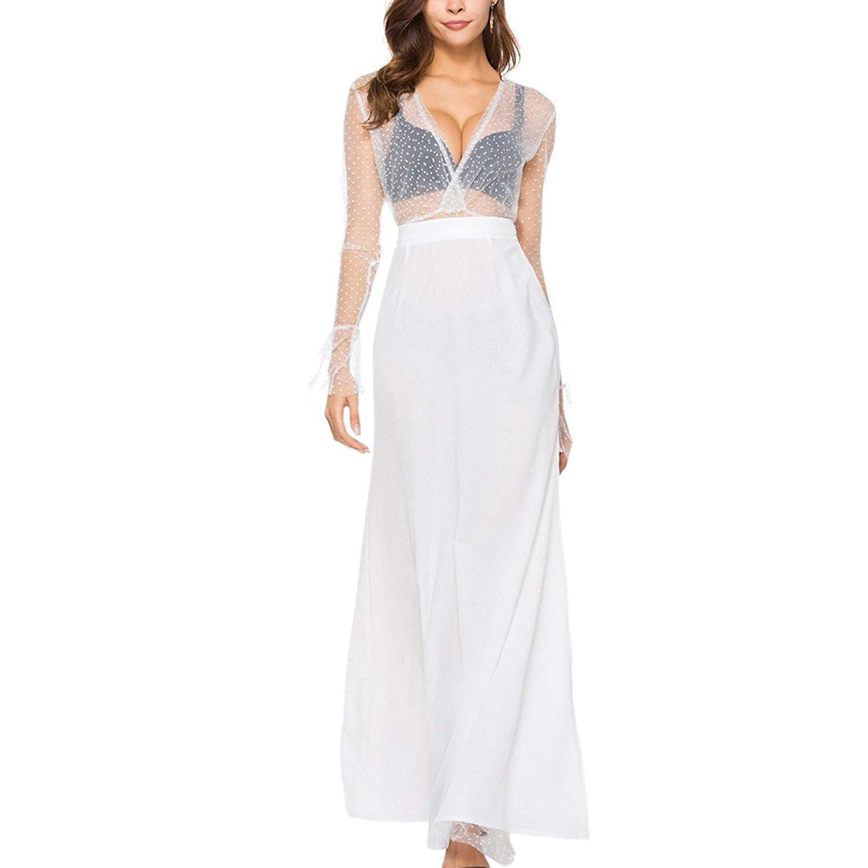 Paixpays Women's Sexy Lace See-Through Blouse + Split Skirt Two-Piece Dress