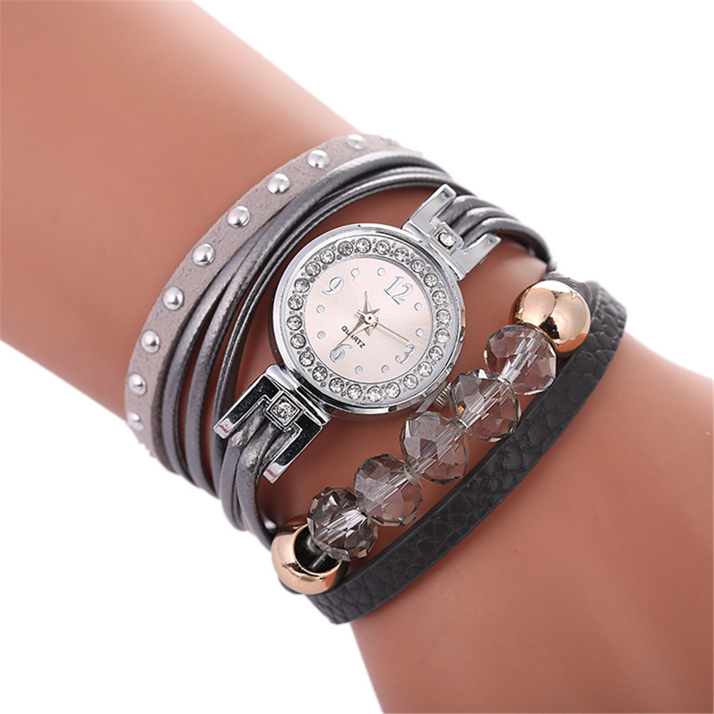 ff04e209eaf5f جديد أزياء المرأة سوار ووتش الذهب الكوارتز هدية ووتش ساعة اليد النساء  اللباس جلدية عارضة سوار