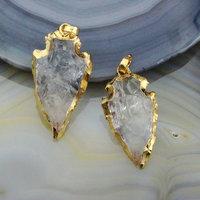 CH-LSP0379 Natural clear crystal quartz stone pendant,clear quartz pendant,Arrowhead shape clear quartz pendants wholesale