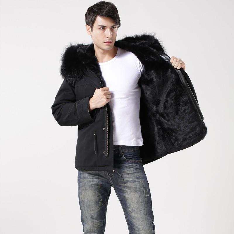 2015 Korean Style Black Mens Parka,Real Fur Hooded Winter ...