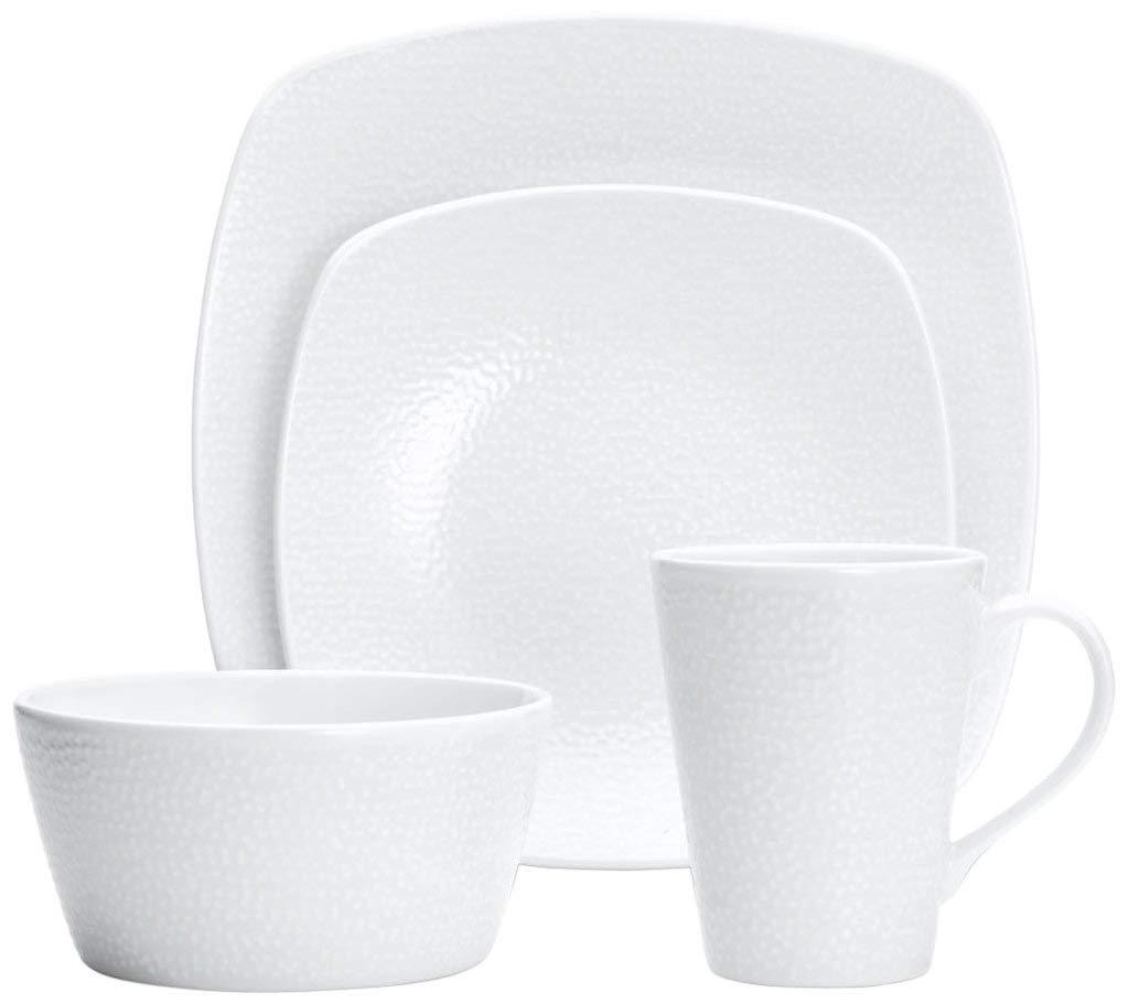 Noritake 4-Piece Square White on White Place Setting, Snow