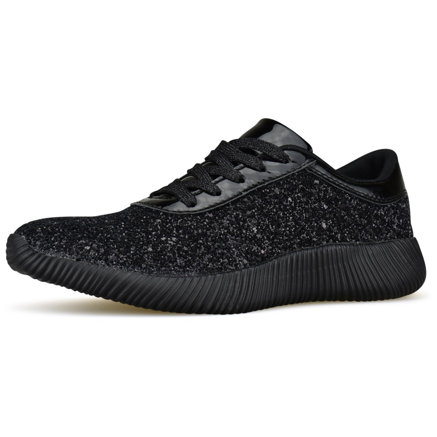 85810efa5edd Get Quotations · ShoBeautiful Womens Wedge Platform Fashion Sneaker Glitter  Metallic Lace Up Sparkle Slip On Street Casual Running