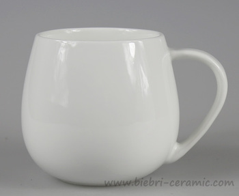 14oz Plain White Custom Ceramic Coffee Mugs Color Glazed Decal Printing