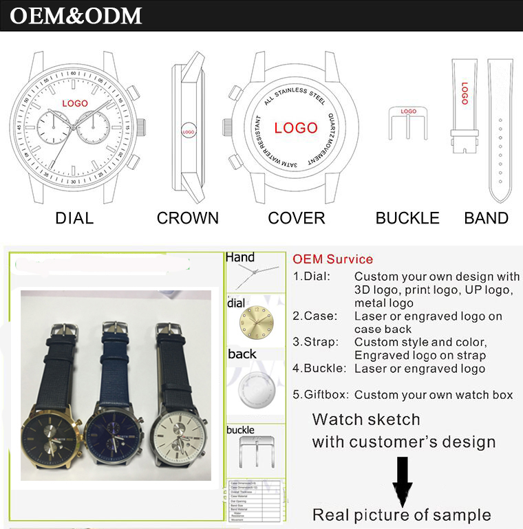 Business chronograph stock  watches  leather material wrist watches men luxury watch