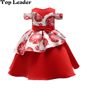 Top Leader New Year Christmas Dress Girls Clothing Red Snowflake Dot Print Child Pageant Party Evening Dress Party Kids Dress