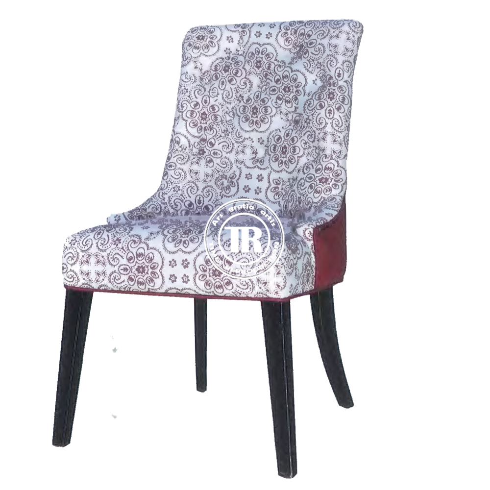 Modern embroidered parsons dining chair,oak wood dinning chair,square back fabric upholstered dining chair