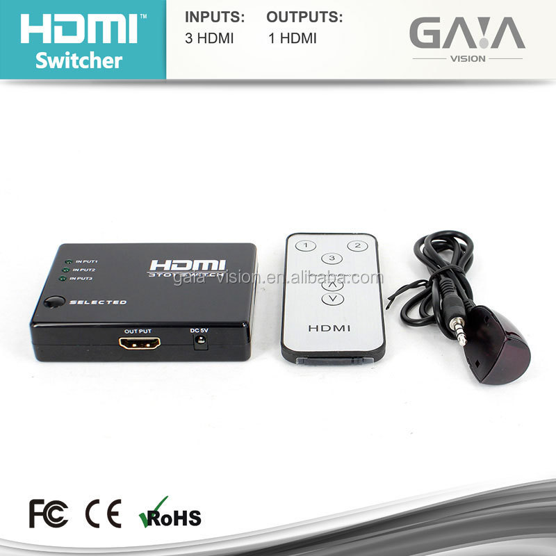 HDMI Splitter switch picture in picture switch 3x1 switcher hdmi, HDCP 1080P compliant 3 in 1 out