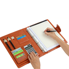 Pu leather folder calculator portfolio 4 hole ring binder with card slots,pen loops and magnet flap close