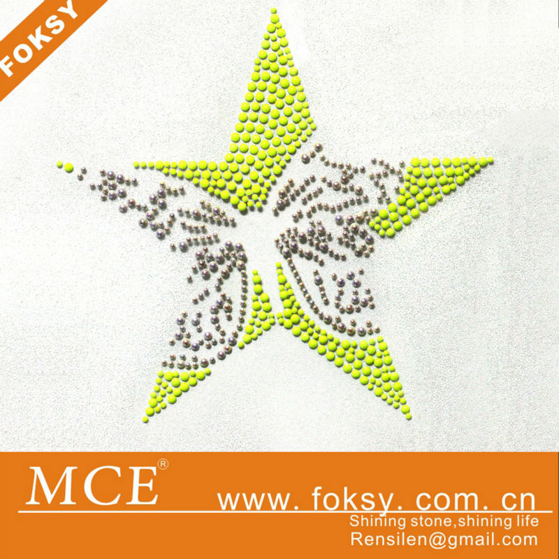 beautiful star hot fix rhinestud motif transfer