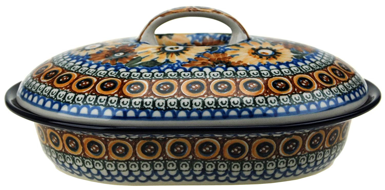 """Ceramika Artystyczna Polish Hand Painted Oval Covered Baking Dish 10"""" x 7.25"""" x 4.25"""" (Brown and Yellow Flowers)"""