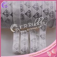 "5/8"" #029 white elastic ribbon foe foil printed diamond, welcome custom printed"