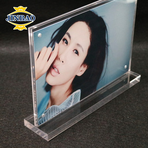 JINBAO Clear Lucite double sided acrylic block paperweight photo frame with magnets portrait picture show stand promotion